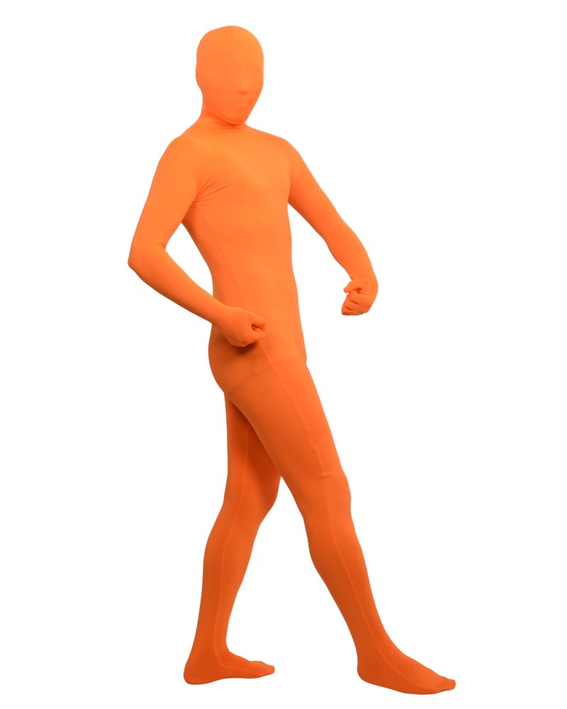 Orange yellow spandex fullbody suit outfit