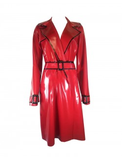 Red latex flasher trench coat