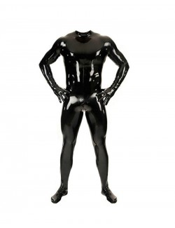 Latex catsuit with full-length back zipper