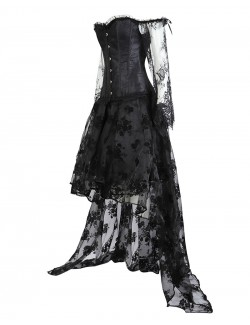 Victorian gothic flat-shoulder overbust corset long sleeve lace high low skirt set