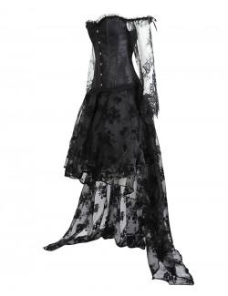 Ensemble de jupe haute basse en dentelle à manches longues gothique gothique victorien