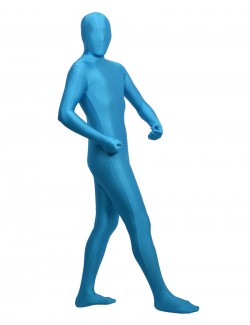 Sky blue fullbody second skin suit spandex