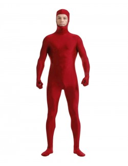 Red zentai spandex outfit full face opening
