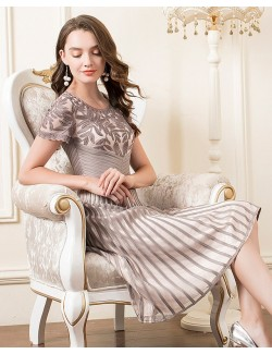 Slate grey embroidery formal gown senior