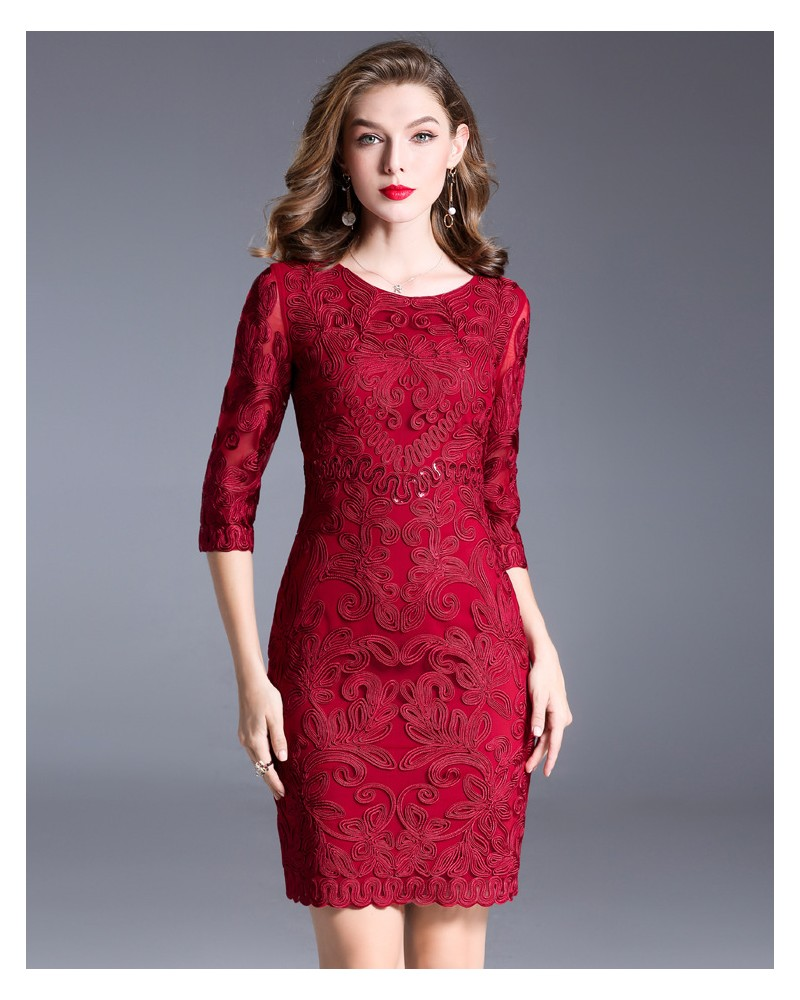 Bridesmaid red formal gown