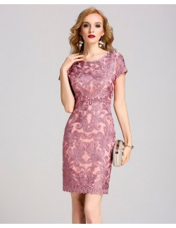 Short sleeve pink bridesmaid gown