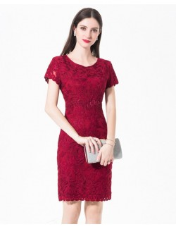 Short sleeve red bridesmaid gown