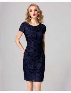 Royal blue short sleeve gown