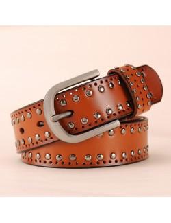 Ladies metal style leather rivet belt