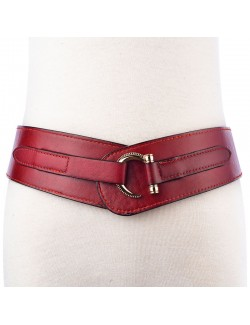 Handmade retro style elastic leather waistband