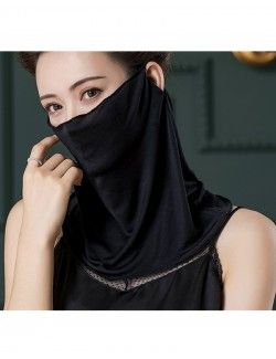Black color silk ear-hanging scarf