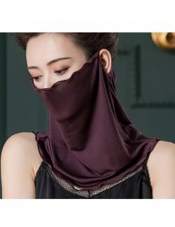 Coffee color silk ear-hanging scarf