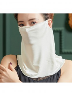 White color silk ear-hanging scarf