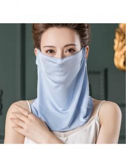 Light blue color silk ear-hanging scarf
