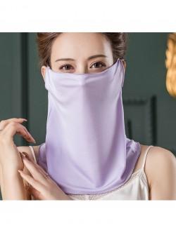 Light purple color silk ear-hanging scarf