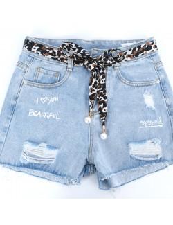 Leopard fabric pendant fine belt
