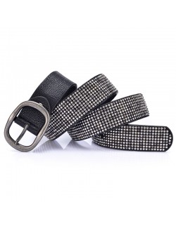Black rivet metal style leather belt