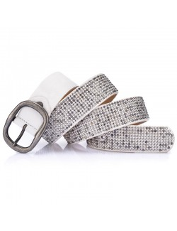 Rivet metal style white leather belt