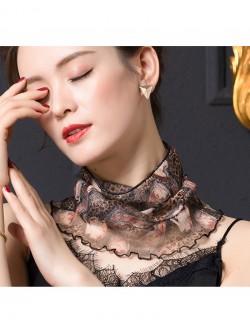 Leopard & flower design printed silk scarf