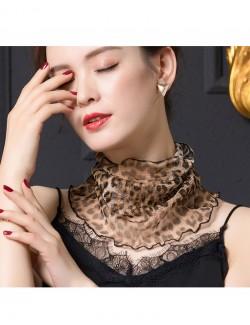 Leopard design printed silk scarf