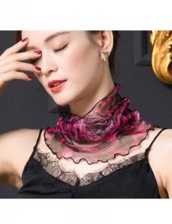Red rose patterns silk scarf