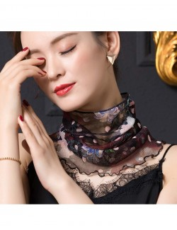 Beautiful garden flowers and dots patterns silk scarf