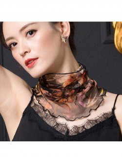 Beautiful flowers printed silk scarf