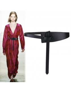 Wide women's leather wrap belt