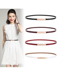 Decorative women's leather thin belt