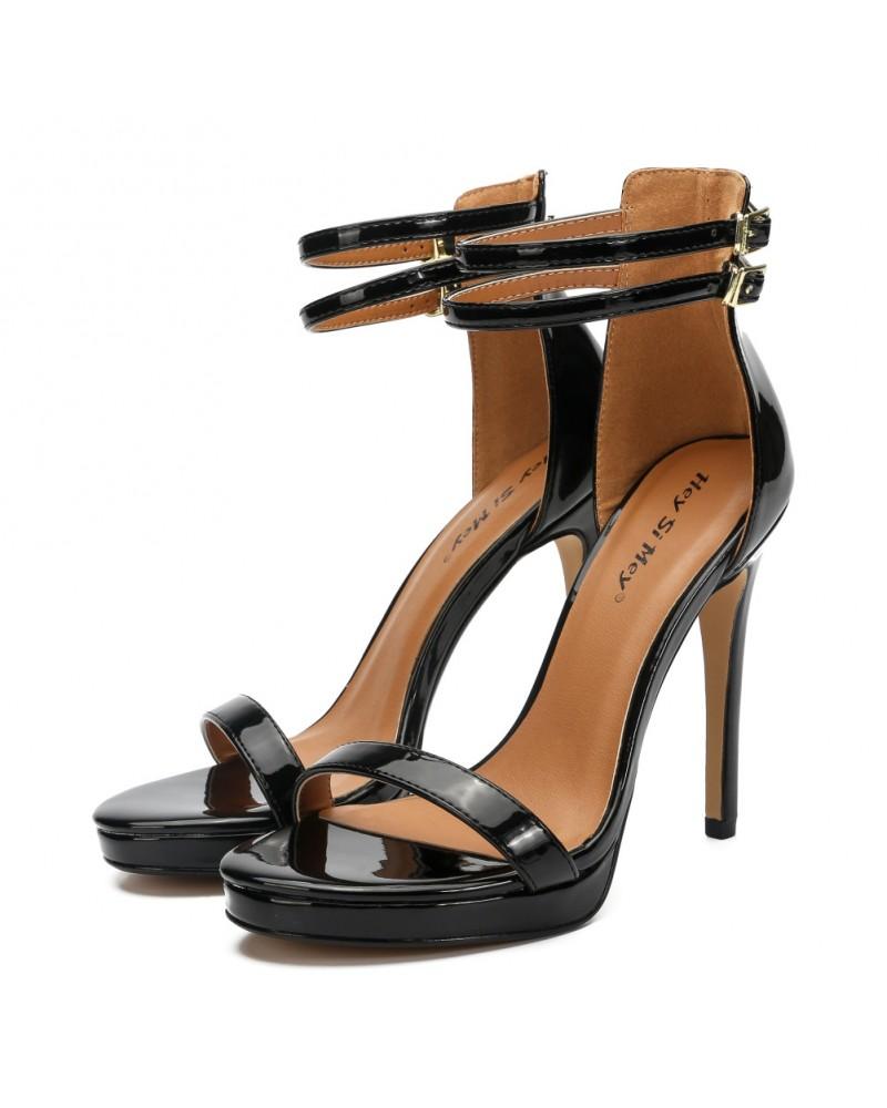 Plus size ankle strap super high heels