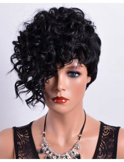 Curly synthetic fiber wig