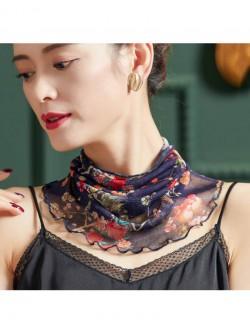 Flowers printed silk scarf
