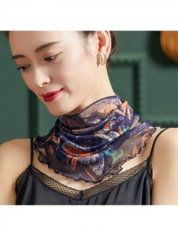 Navy blue printed wave point silk scarf