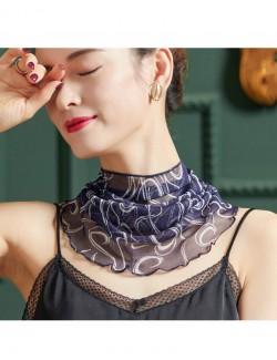 Navy blue printed silk scarf