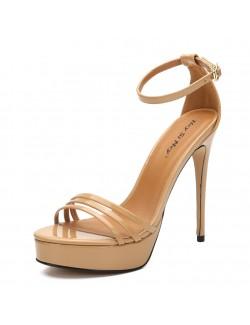 Creamy-white high heel ankle straps sandals