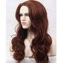 Brown red synthetic fiber long wig