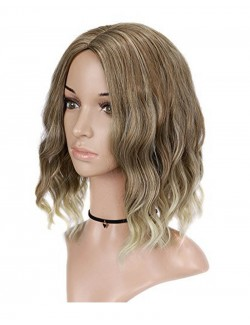 Short curly blond synthetic wig