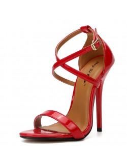 Stylish strappy high-heeled sandals