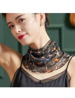 Starfish style printed silk scarf