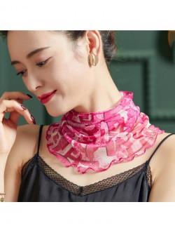 Pink color printed silk scarf