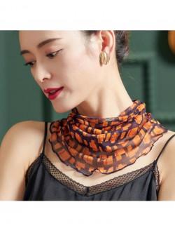 Yellow square pattern printed silk scarf