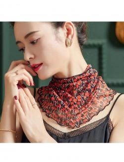 Orange mushrooms pattern printed silk scarf