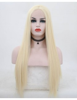 Synthetic fiber straight long hair blond wig