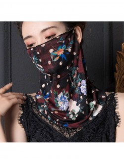 Bright Floral print pattern ear-hanging scarf