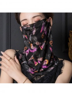 Retro black pattern print ear-hanging scarf