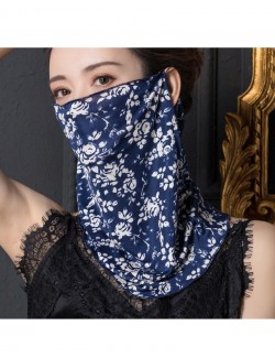 Blue and white floral print ear-hanging silk scarf