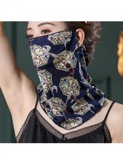 Hidden blue umbrella pattern ear-hanging silk scarf
