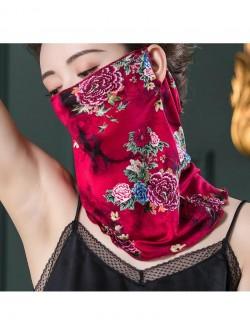 Red rose pattern printing, ear-hanging, tube magic scarf, face mask