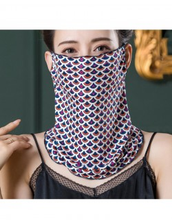 Fish scale pattern, ear-hanging, tube magic scarf, face mask