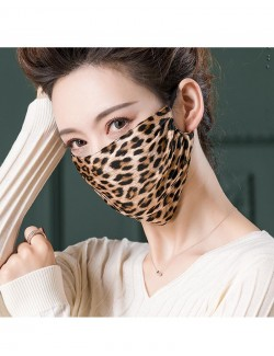 Leopard pattern printed mulberry silk face mask